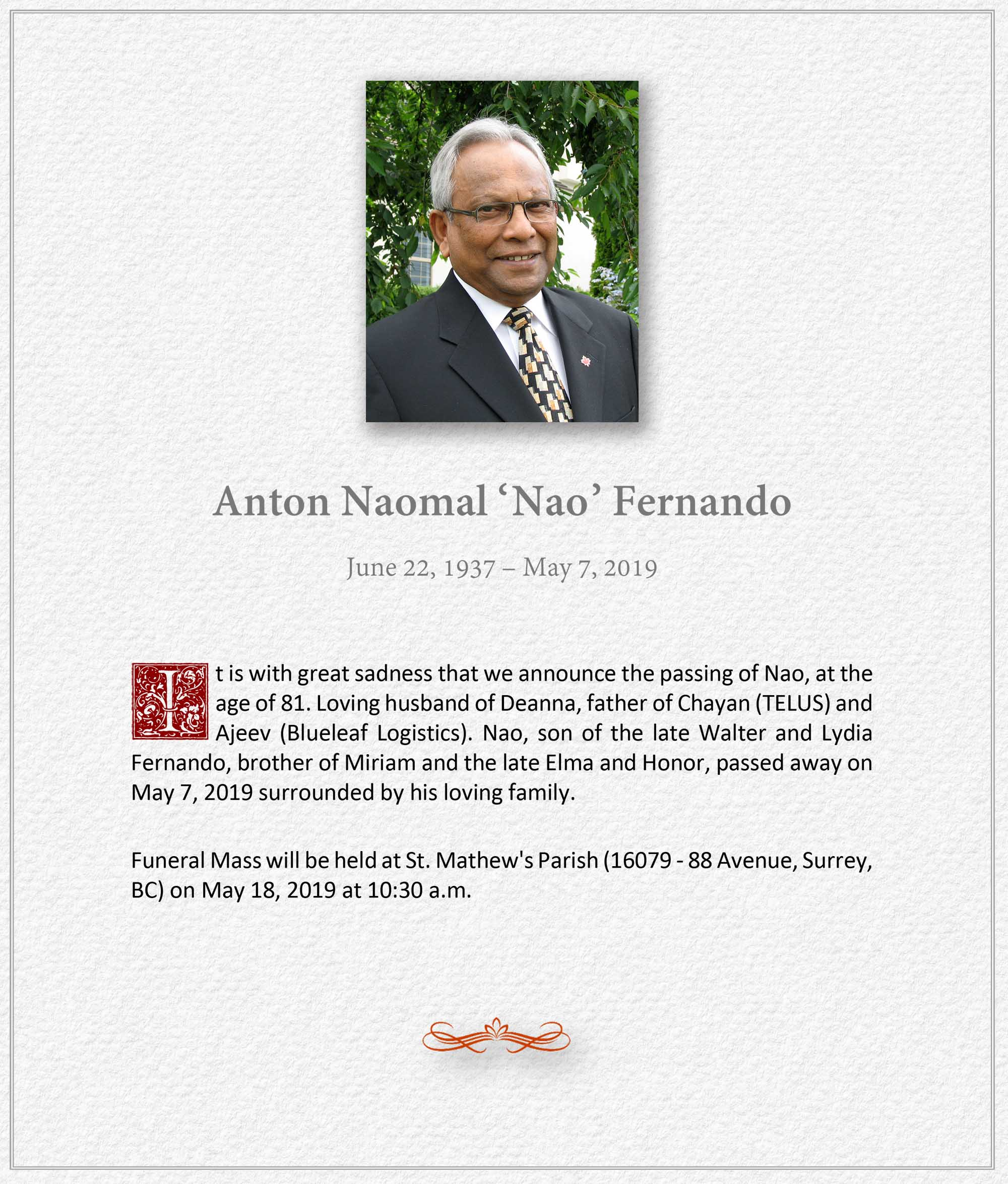 Obituary for Anton Naomal 'Nao' Fernando