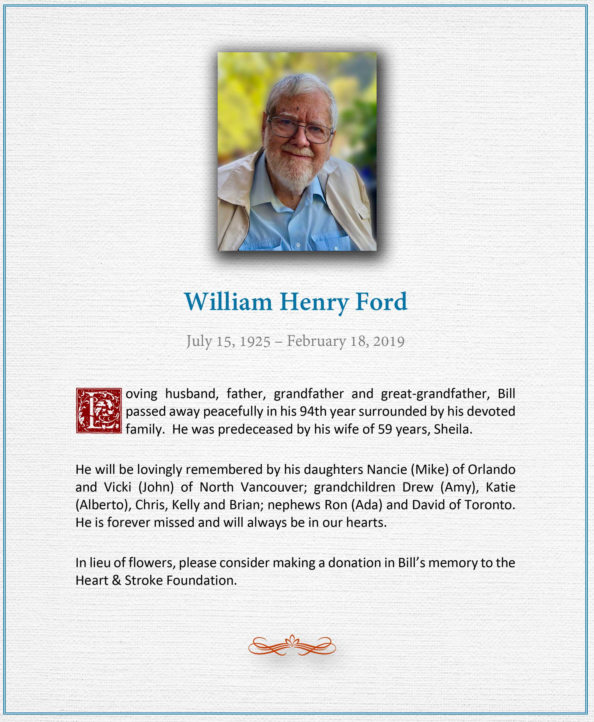 Obituary for William Henry Ford of North Vancouver BC