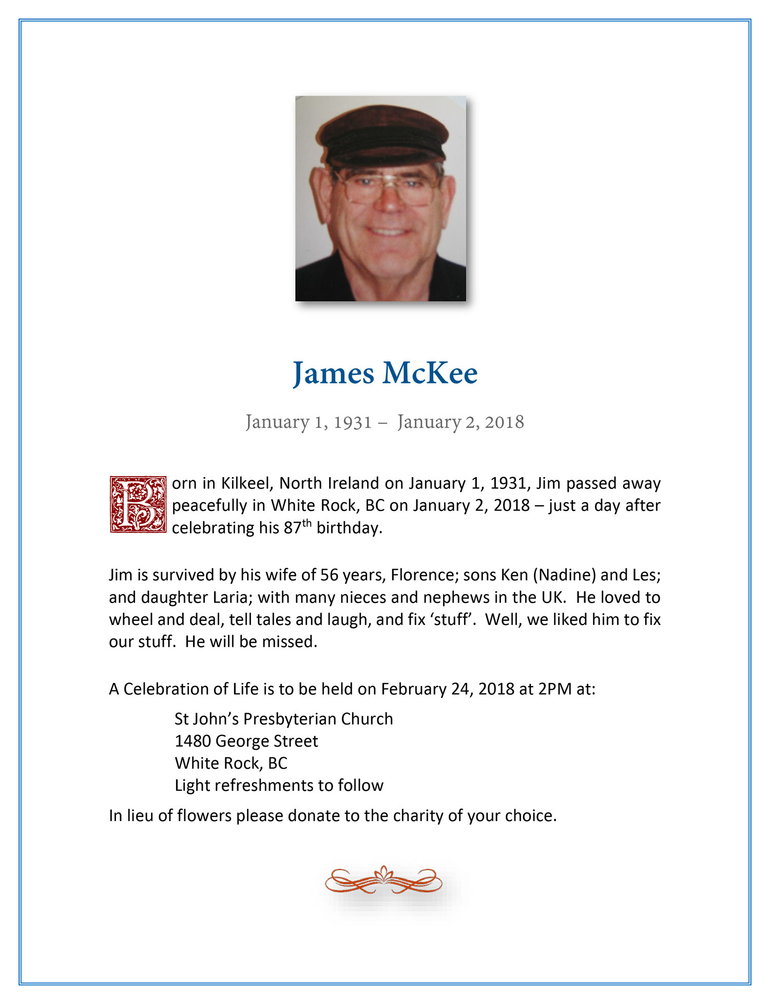 Obituary for James McKee