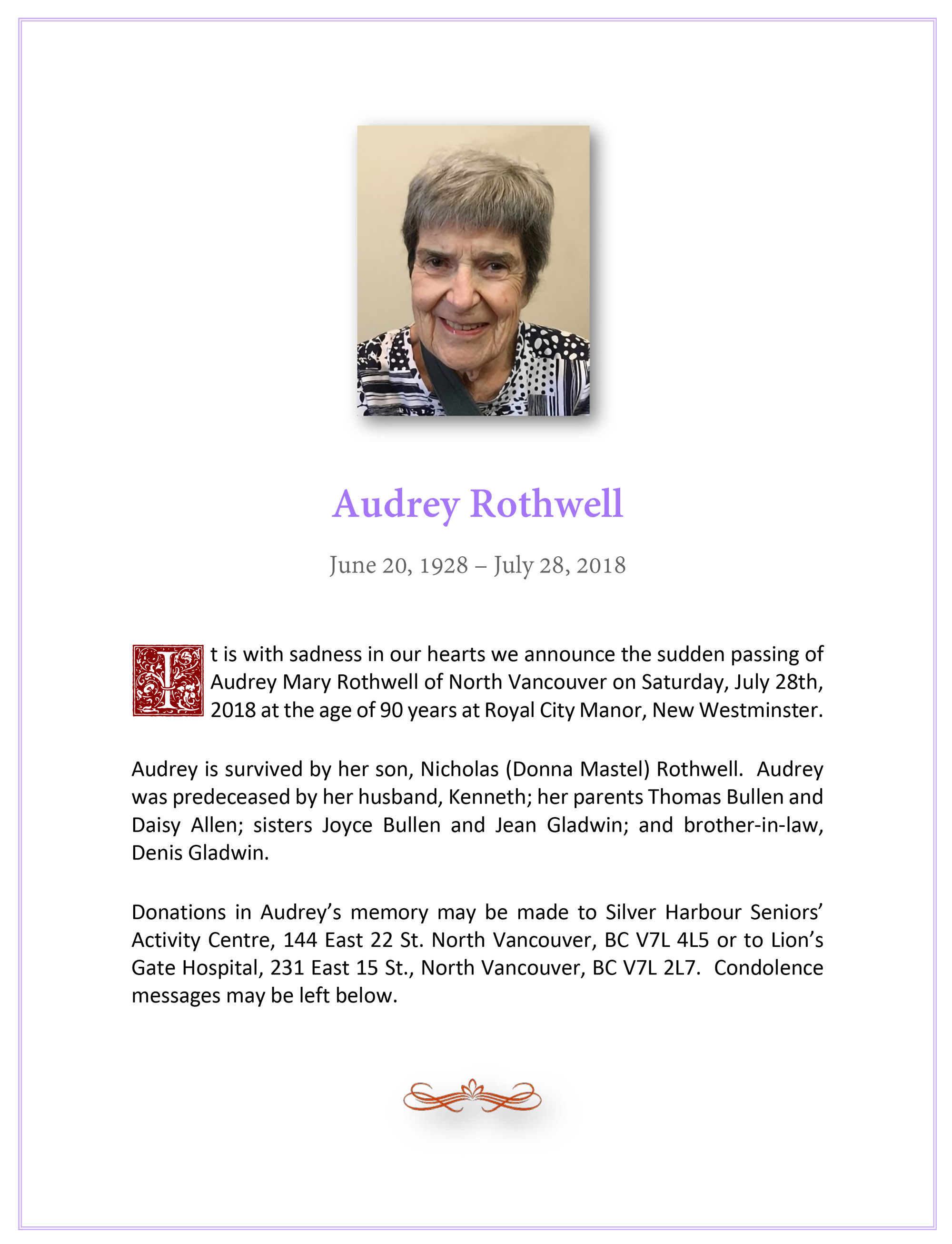 Obituary for Audrey Rothwell (nee Bullen)