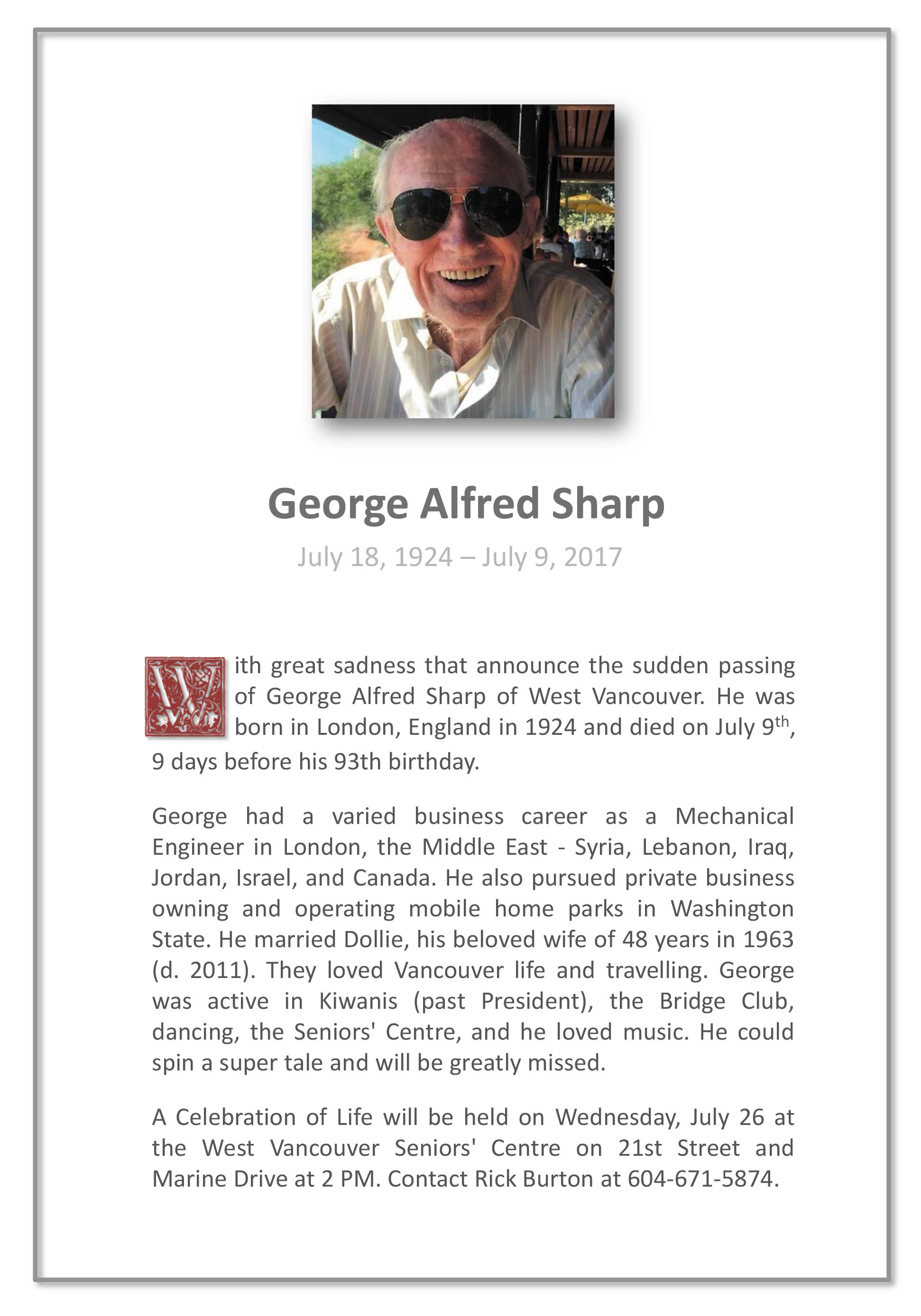Obituary for George Alfred Sharp of West Vancouver BC
