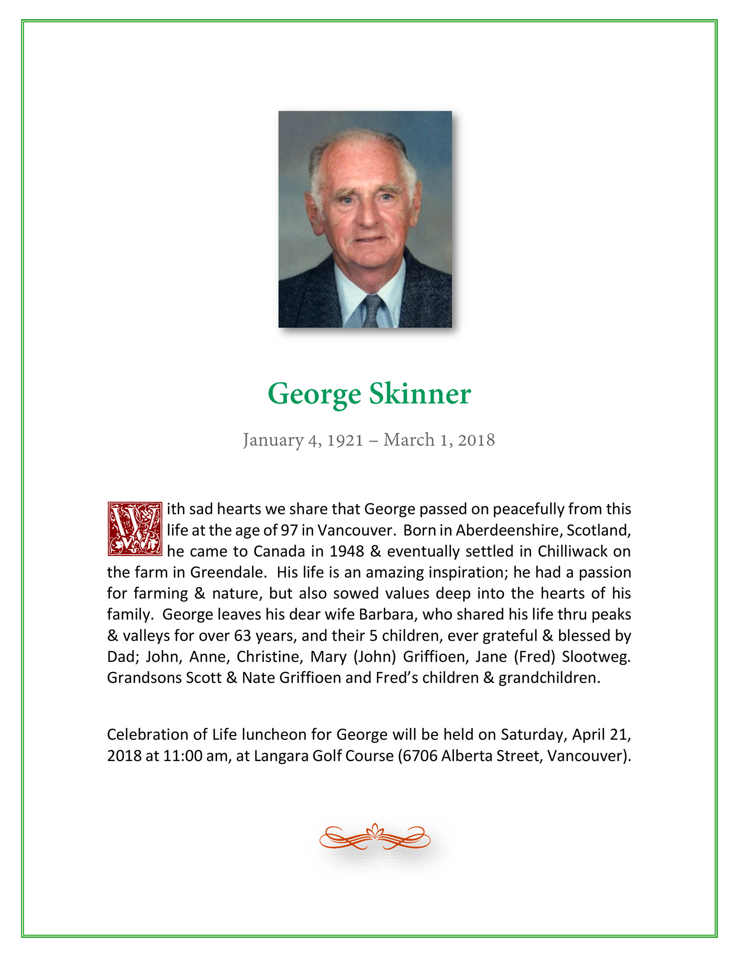 Obituary for George Skinner