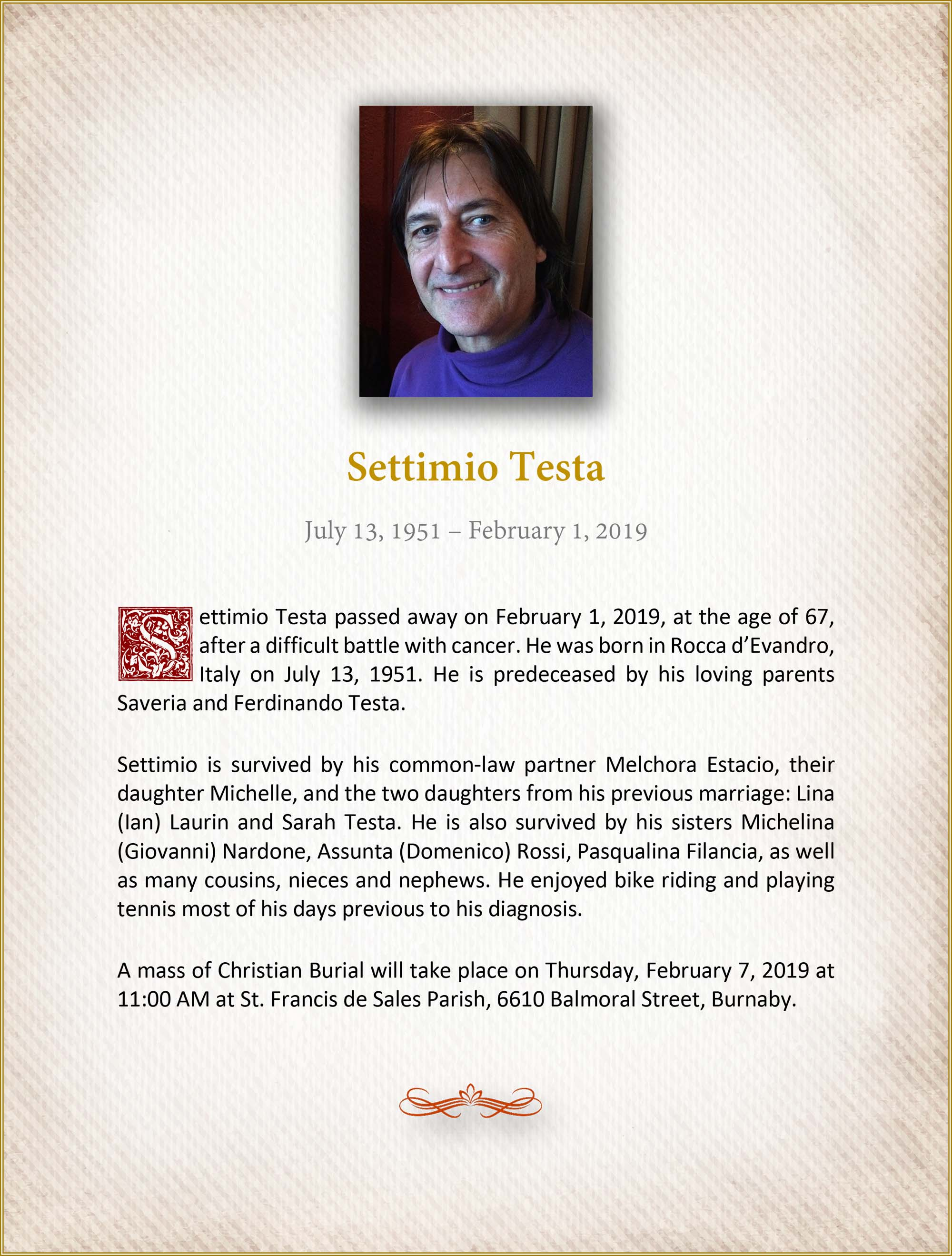 Obituary for Settimio Testa