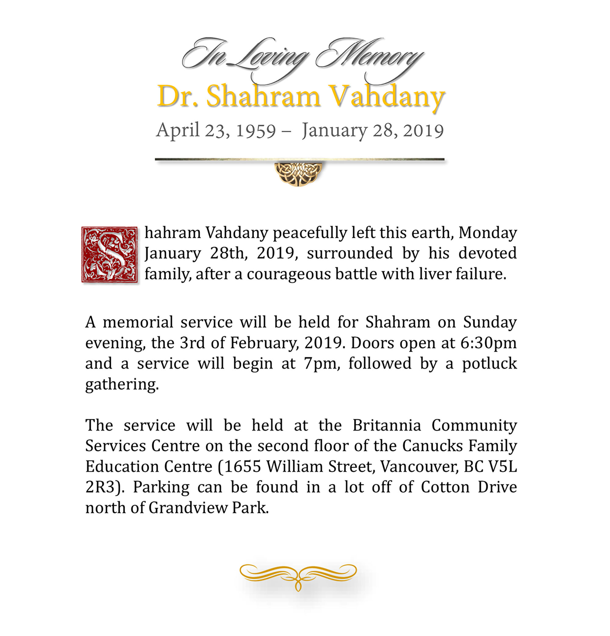 Obituary for Dr Shahram Vahdany of Vancouver BC
